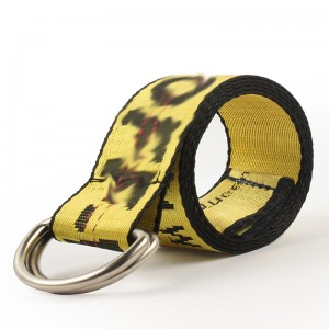 Factory high quality fashion custom embroidered designer mens cinturones offwhite fabric belt