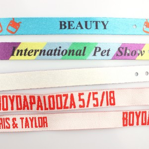 Promotional hot sale custom printed adjustable rpet recycle woven cloth party wristband for festival & activity