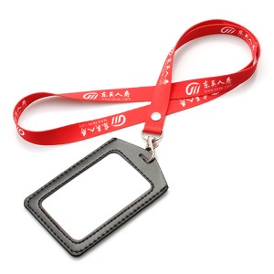 Factory Free sample Id Card Neck Strap - Custom logo neck lanyard with pu card holder – February Webbing