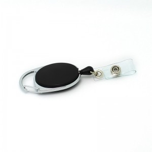 Custom high quality promotion carabiner badge reel with belt clip
