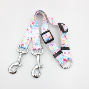 Wholesale soft printed handle dog leashes for two dogs