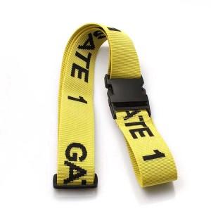 Custom packing tag loop strap woven luggage belt with breakaway hook