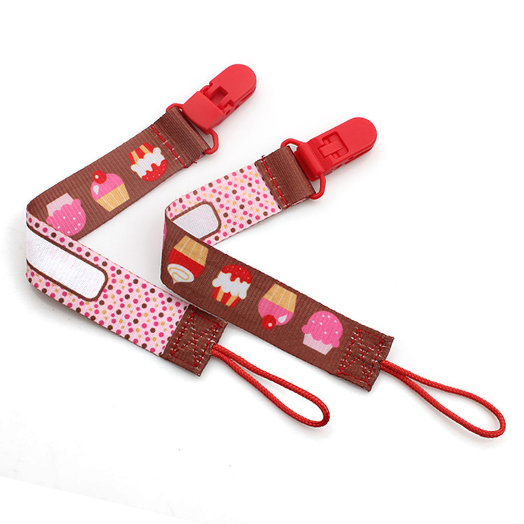 2017 Latest Design Luggage Strap With Lock - China supplier Manufacturing Eco-friendly personalize baby pacifier clip made by heat transfer printing – February Webbing