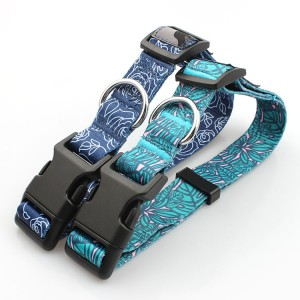 wholesale comfortable sublimation printed pet dog collar with adjustable buckle