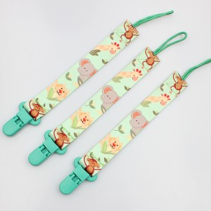 OEM colorful printing soft baby pacifier chain clip supplier