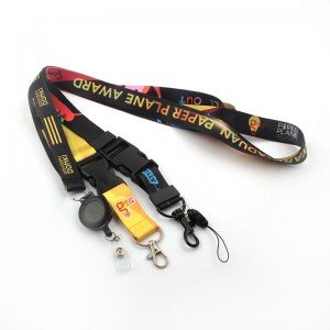 2020 adjustable keychain length black single clip lanyard with id badge reel