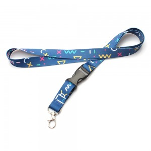 Custom logo polyester remove lanyard with breakaway buckle