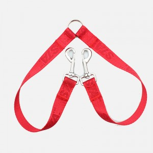 Eco friendly material woven custom logo double dog leash