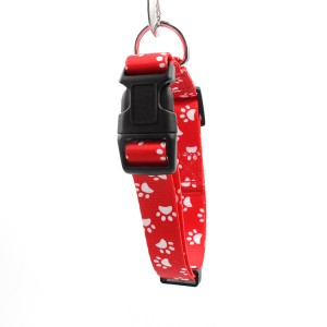 Customized special print fashion ribbon dog collar with plastic buckle