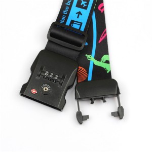 Wholesale promotional durable custom made polyester weight luggage belt with TSA lock