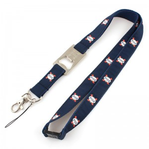 High quality polyester beer bottle opener lanyard with metal hook