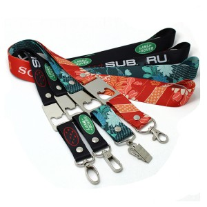 High quality eco friendly material custom lanyard bottle opener