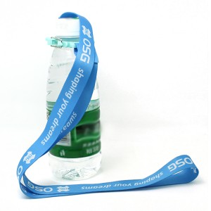Personalised cheap custom blue lanyards with plastic bottle buckle
