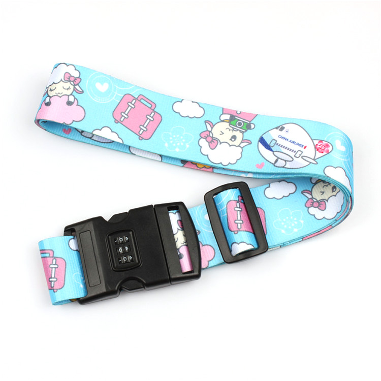 Wholesale custom printing strap adjustable cheap polyester luggage belt with number lock Featured Image