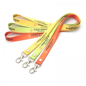 Colorful Heat Transfer Printed Lanyard with phone string and metal hook