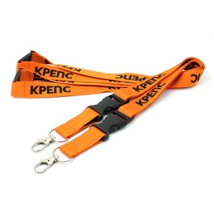 High quality custom printing lanyard with double plastic hook