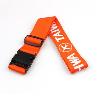Woven fabric custom logo durable adjustable luggage belt with high quality
