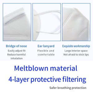 Fast Delivery 4 Ply Non-Woven Fabric 3 PlyDisposable N95 Face Mask