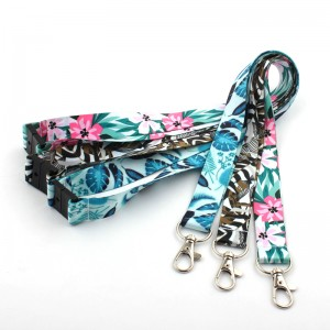 Custom designer breakaway id card holder butterfly rose lovely flower pattern floral lanyard