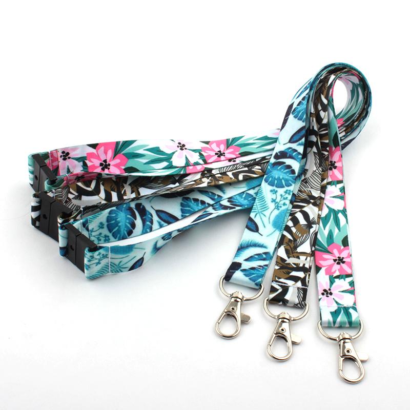 Custom designer breakaway id card holder butterfly rose lovely flower pattern floral lanyard Featured Image
