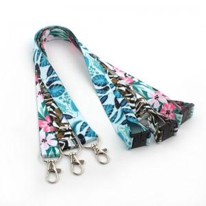 Custom designer breakaway id card holder butterfly rose lovely flower pattern floral lanyard