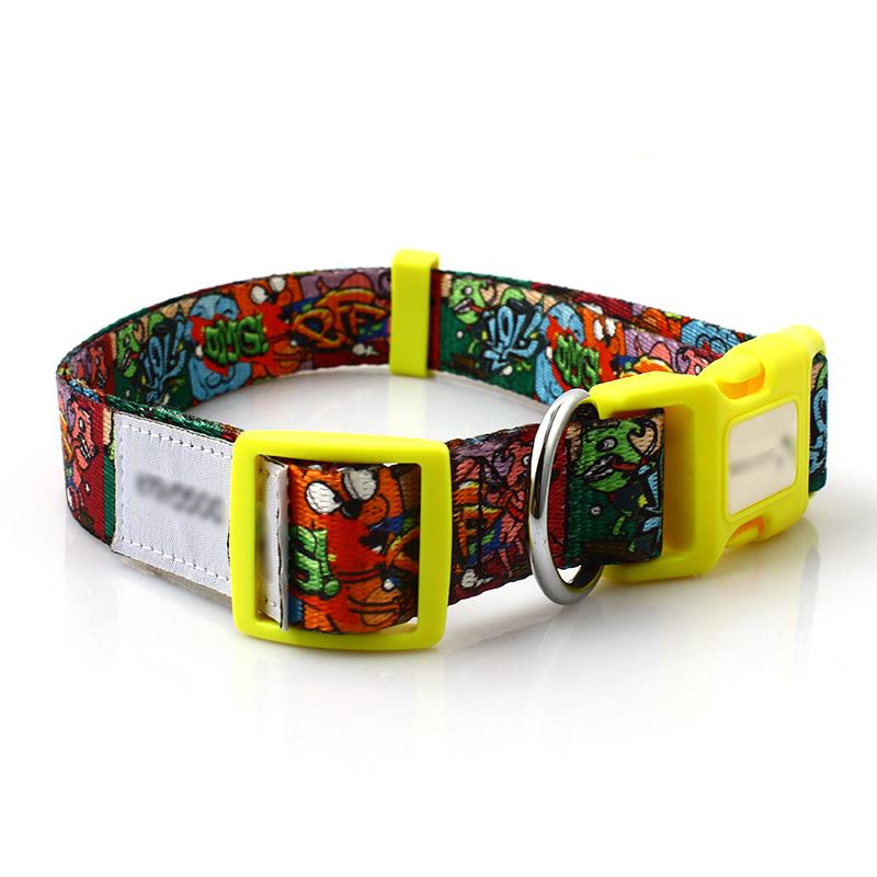 Customized logo fashion durable personalized sublimation RPET dog collar wholesale Featured Image