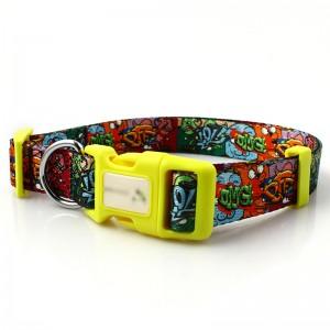Customized logo fashion durable personalized sublimation RPET dog collar wholesale
