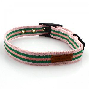 Customized logo pet product polyester dog collar with metal buckle