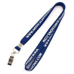 Custom silk screen printed tube lanyard neck strap with logo
