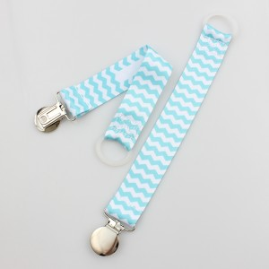 Personalized Polyester Baby Pacifier Holder Metal Clip