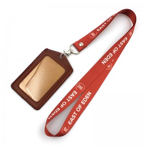 High quality PU leather id card holder with lanyard