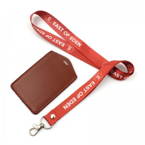 Professional China Printed Polyester Customized Lanyard  High quality PU leather id card holder with lanyard