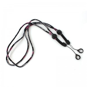 Factory custom woven logo rope cotton vape lanyard with rubber ring