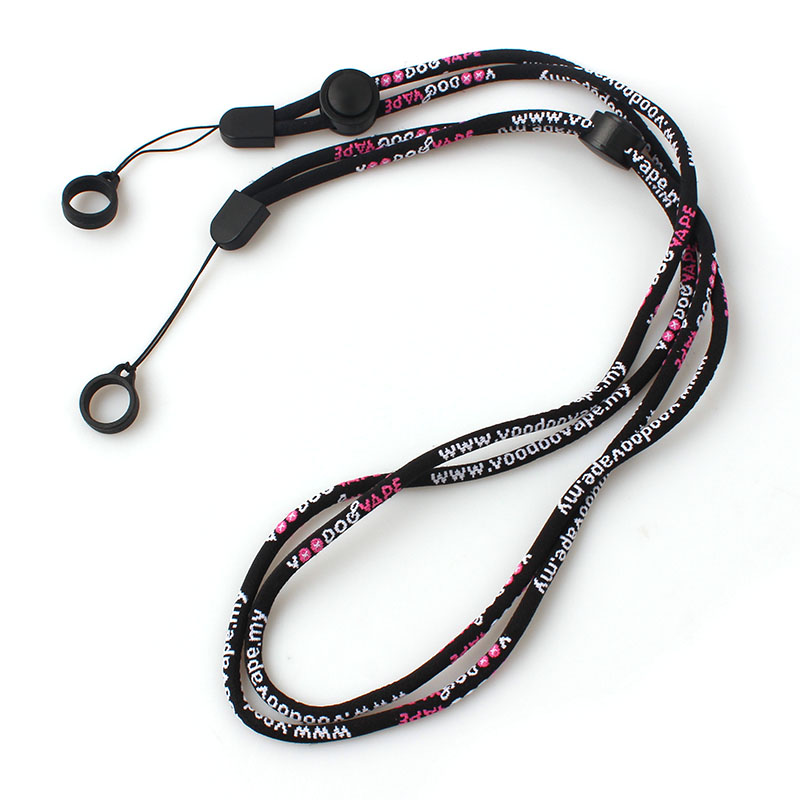 Professional China Printed Polyester Customized Lanyard Factory custom woven logo rope cotton vape lanyard with rubber ring Featured Image