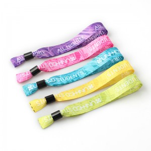 Wholesale adjustable wrist bands custom logo cloth event polyester wristbands for concert
