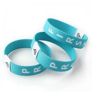 Custom logo fashion fabric bracelet elastic wristband