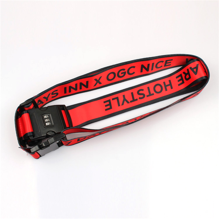 Cheap Polyester Printed Custom Logo Travel Luggage Belt with plastic coded lock Featured Image
