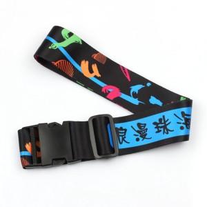 Custom polyester digital sublimated luggage straps suitcase belt