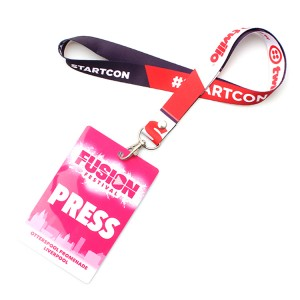 Custom heat transfer printed card holder id lanyard polyester material neck strap