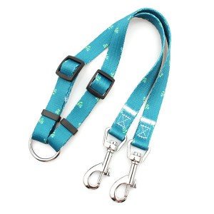 Custom printed double dog leash 360 degree swivel durable no tangle