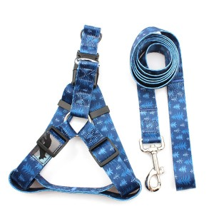 New style wholesale solid polyester adjustable dog harness and leash