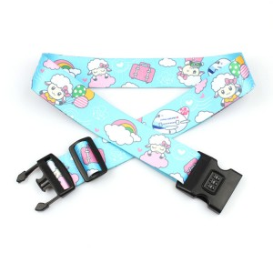 Wholesale custom printing strap adjustable cheap polyester luggage belt with number lock