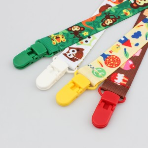 OEM wholesale cute baby pacifier clip chain with lovely animal